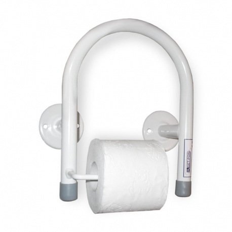 Steel white grab bar with paper holder