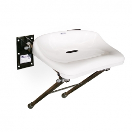 Stainless steel folding shower seat with legs