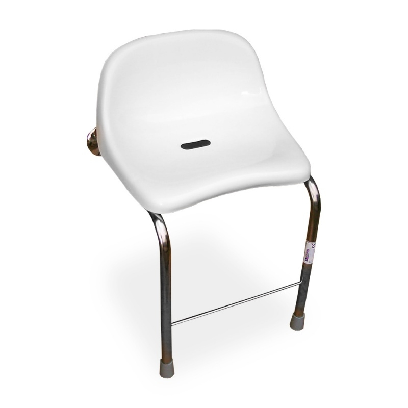 Stainless steel wall to floor shower seat with backrest