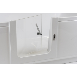 Angled grab rail with toilet paper holder