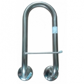Stainless steel grab bar with paper holder